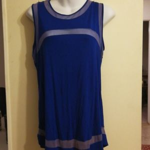 Cable and gauge royal blue thin/part sheer L. tank